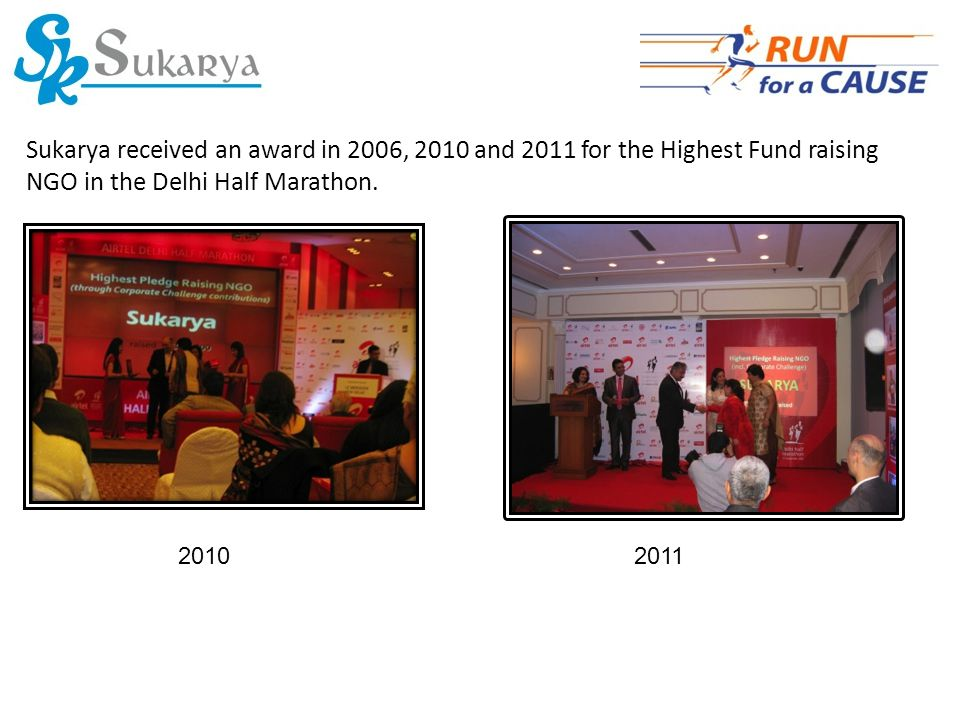 Sukarya received an award in 2006, 2010 and 2011 for the Highest Fund raising NGO in the Delhi Half Marathon.