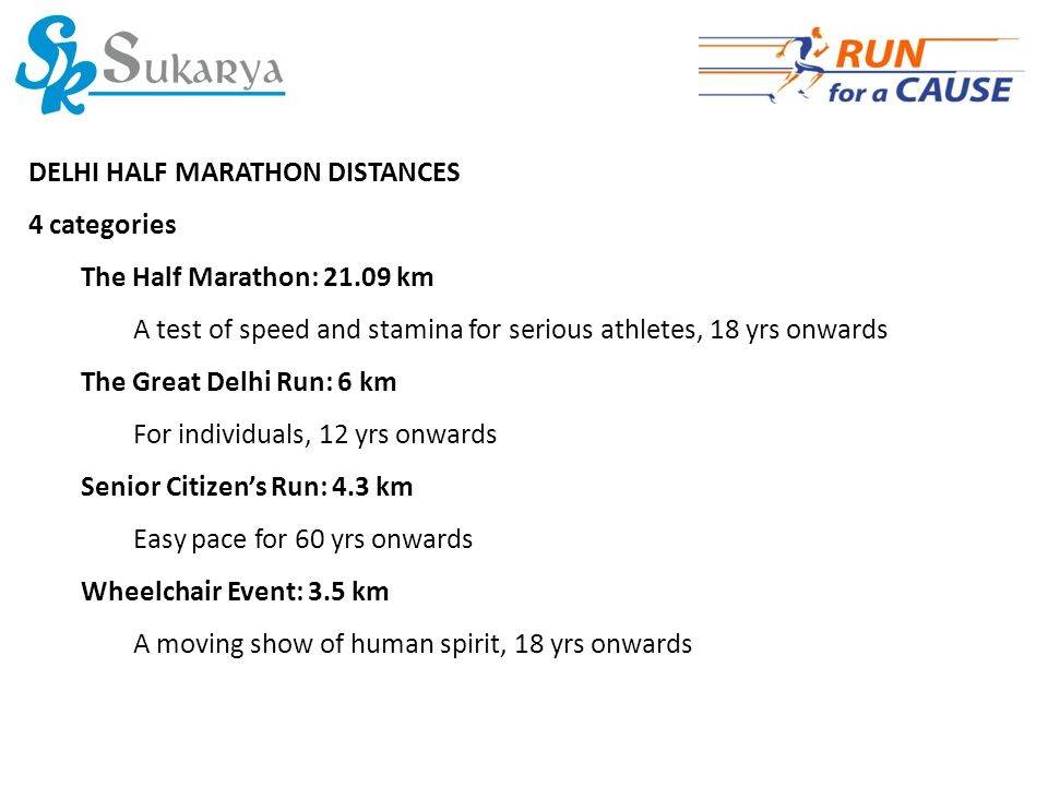 DELHI HALF MARATHON DISTANCES 4 categories The Half Marathon: 21.09 km A test of speed and stamina for serious athletes, 18 yrs onwards The Great Delhi Run: 6 km For individuals, 12 yrs onwards Senior Citizen's Run: 4.3 km Easy pace for 60 yrs onwards Wheelchair Event: 3.5 km A moving show of human spirit, 18 yrs onwards