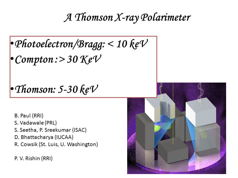 A Thomson X-ray Polarimeter Photoelectron/Bragg: < 10 keV Compton :> 30 KeV Thomson: 5-30 keV B.