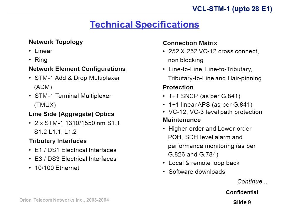 Orion Telecom Networks Inc., 2003-2004 Confidential Slide 9 Technical Specifications Continue... VCL-STM-1 (upto 28 E1) Network Topology Linear Ring N