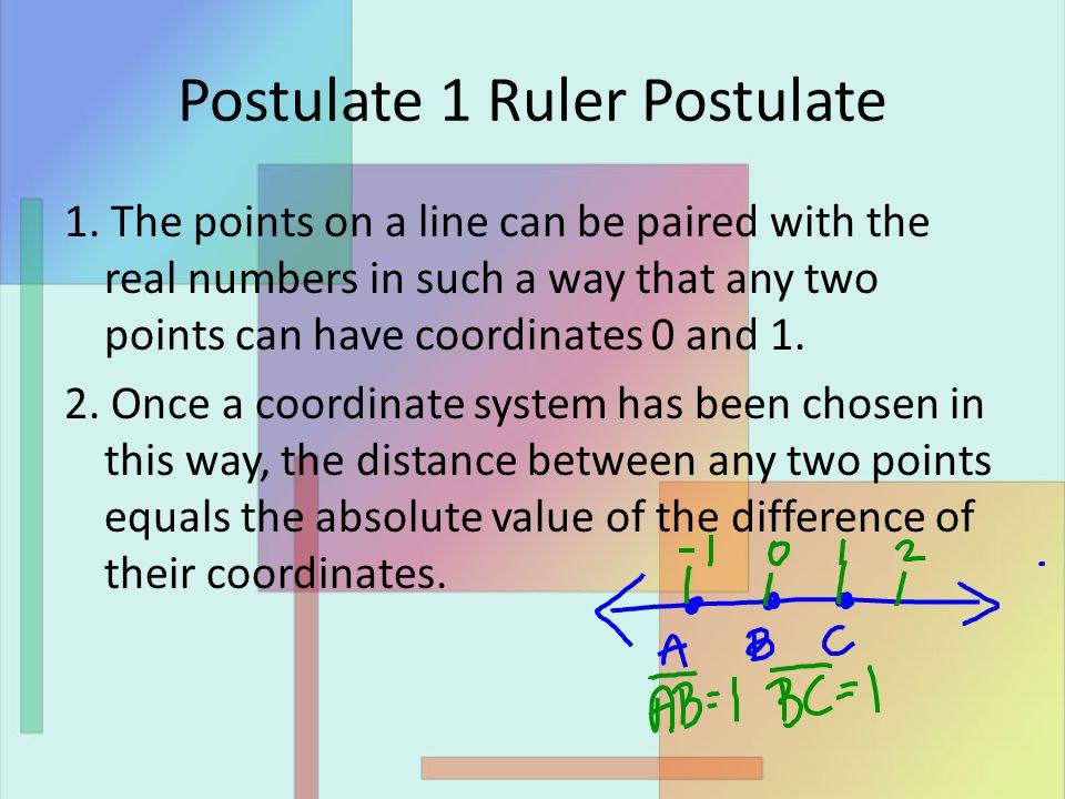 Postulate 1 Ruler Postulate 1.