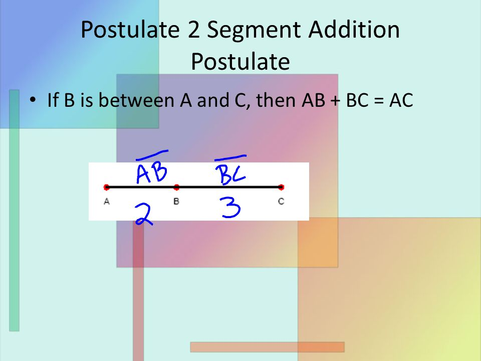 Postulate 2 Segment Addition Postulate If B is between A and C, then AB + BC = AC