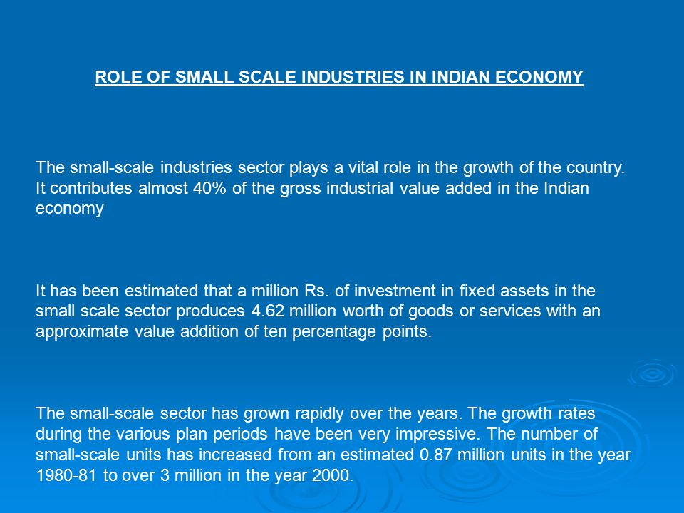 The small-scale industries sector plays a vital role in the growth of the country.