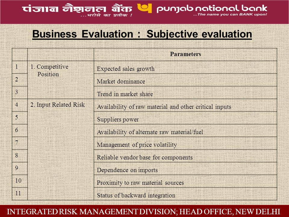 Business Evaluation : Subjective evaluation Parameters 11.