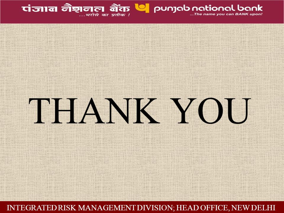 THANK YOU INTEGRATED RISK MANAGEMENT DIVISION; HEAD OFFICE, NEW DELHI.