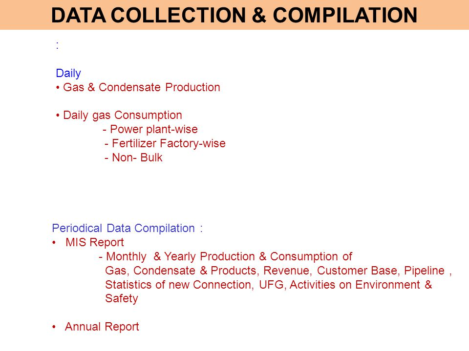 : Daily Gas & Condensate Production Daily gas Consumption - Power plant-wise - Fertilizer Factory-wise - Non- Bulk Periodical Data Compilation : MIS R