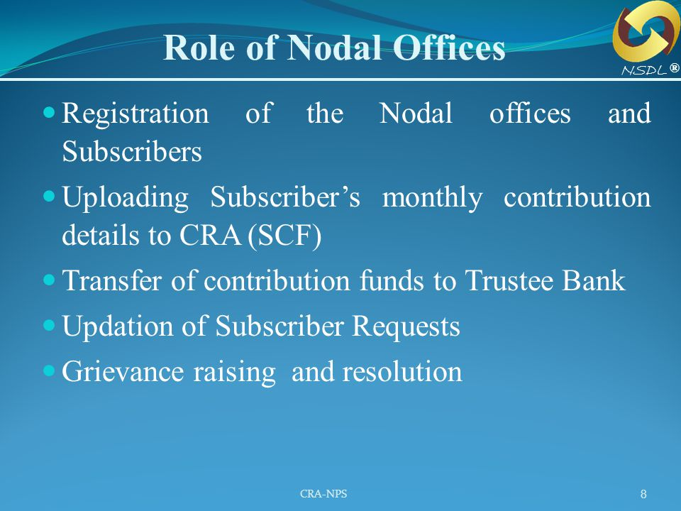 CRA-NPS 8 Registration of the Nodal offices and Subscribers Uploading Subscriber's monthly contribution details to CRA (SCF) Transfer of contribution