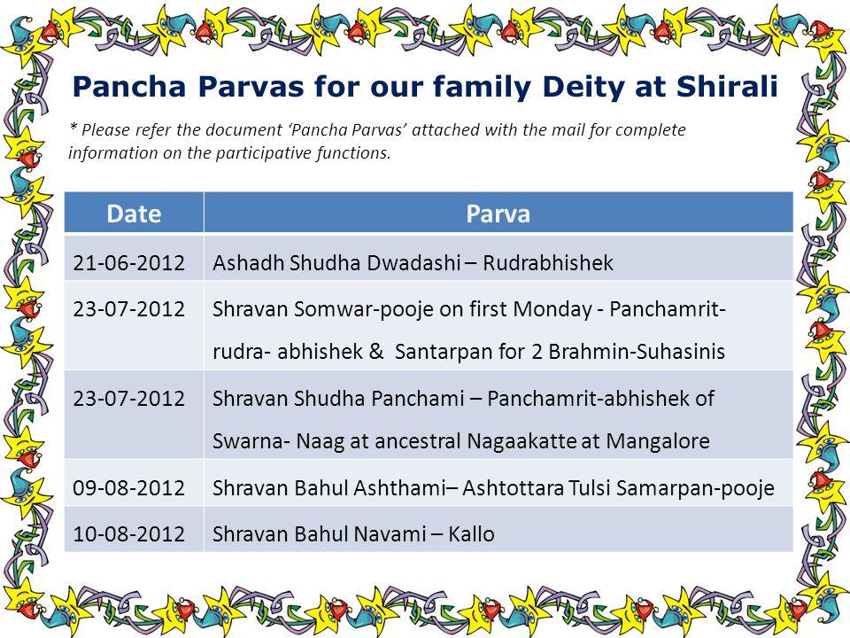 Pancha Parvas for our family Deity at Shirali DateParva 21-06-2012Ashadh Shudha Dwadashi – Rudrabhishek 23-07-2012 Shravan Somwar-pooje on first Monday - Panchamrit- rudra- abhishek & Santarpan for 2 Brahmin-Suhasinis 23-07-2012 Shravan Shudha Panchami – Panchamrit-abhishek of Swarna- Naag at ancestral Nagaakatte at Mangalore 09-08-2012Shravan Bahul Ashthami– Ashtottara Tulsi Samarpan-pooje 10-08-2012Shravan Bahul Navami – Kallo * Please refer the document 'Pancha Parvas' attached with the mail for complete information on the participative functions.
