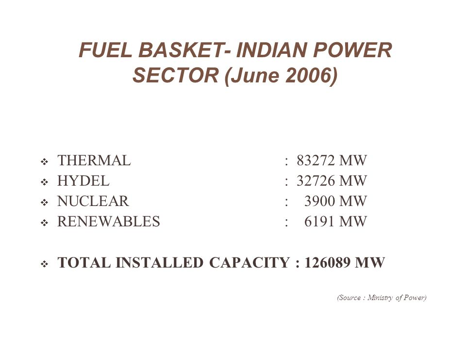 FUEL BASKET- INDIAN POWER SECTOR (June 2006)  THERMAL : 83272 MW  HYDEL : 32726 MW  NUCLEAR : 3900 MW  RENEWABLES : 6191 MW  TOTAL INSTALLED CAPA