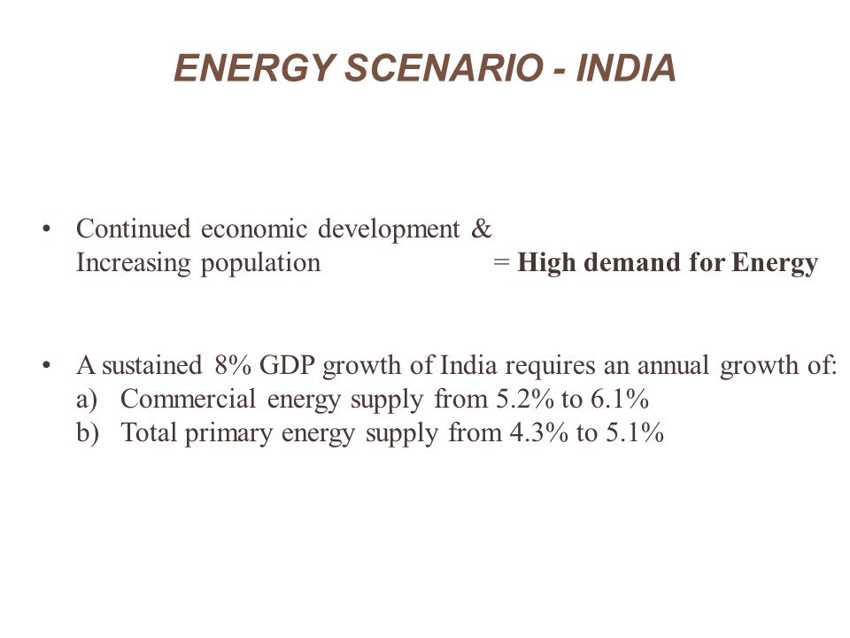 ENERGY SCENARIO - INDIA Continued economic development & Increasing population = High demand for Energy A sustained 8% GDP growth of India requires an