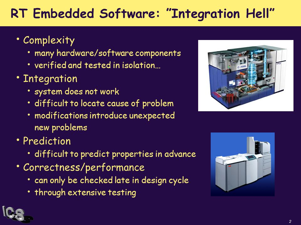 "2 RT Embedded Software: ""Integration Hell"" Complexity many hardware/software components verified and tested in isolation… Integration system does not"