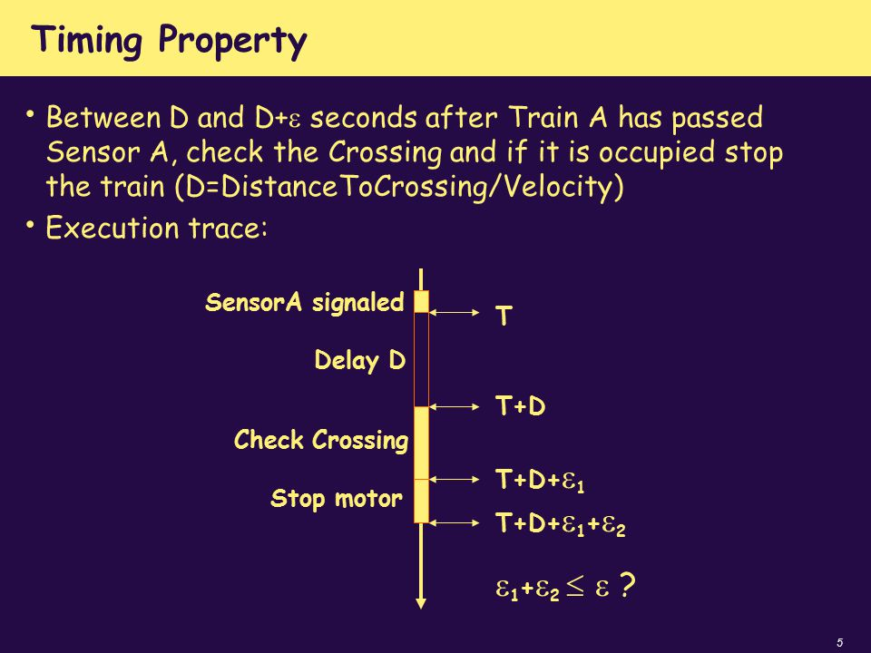 5 Timing Property Between D and D+  seconds after Train A has passed Sensor A, check the Crossing and if it is occupied stop the train (D=DistanceToC