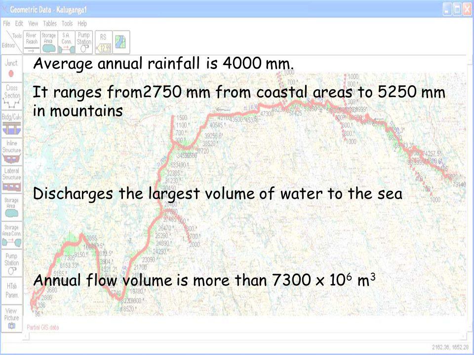 Kalu River Study Reach and Geometric Database Study reach extends from Ratnapura to Kalutara about 79 km
