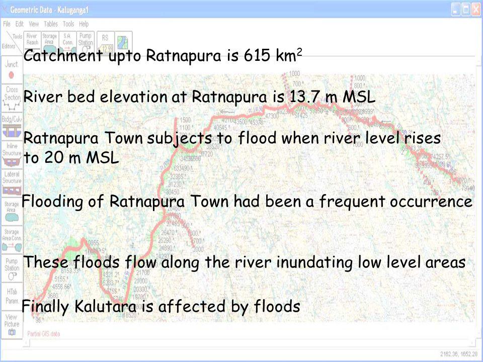 River from Ratnapura to Kalutara in the model 86 surveyed cross section details were used Six major tributaries join the Kalu River NiriElla River, Kuru River, Galatara Oya, Yatipawa Ela, Morawak Oya, Kuda River