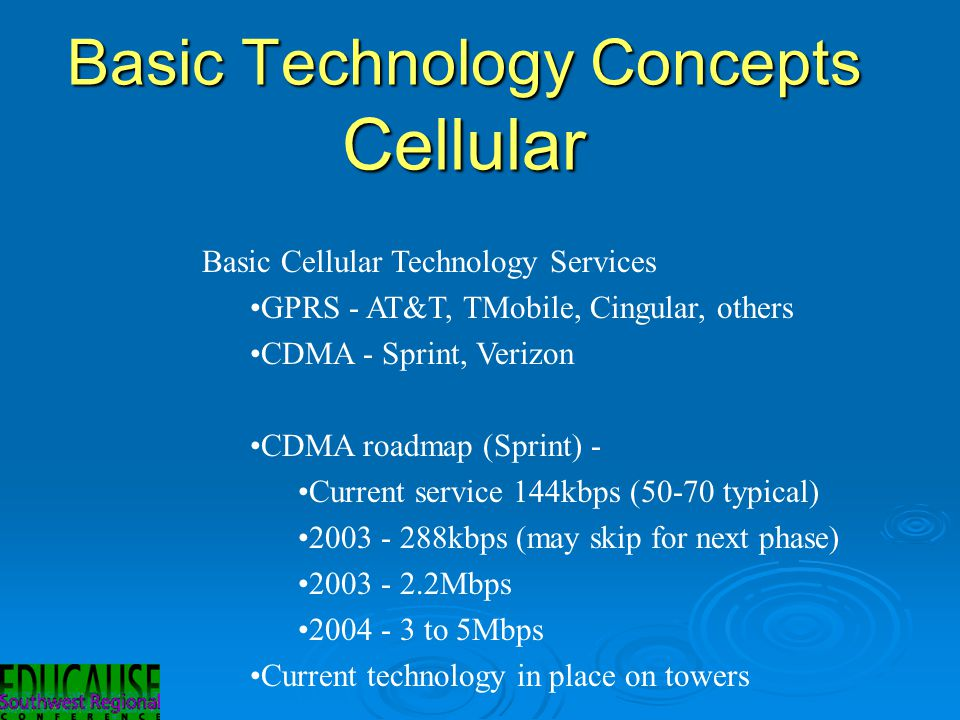 Basic Technology Concepts Cellular Basic Cellular Technology Services GPRS - AT&T, TMobile, Cingular, others CDMA - Sprint, Verizon CDMA roadmap (Sprint) - Current service 144kbps (50-70 typical) 2003 - 288kbps (may skip for next phase) 2003 - 2.2Mbps 2004 - 3 to 5Mbps Current technology in place on towers
