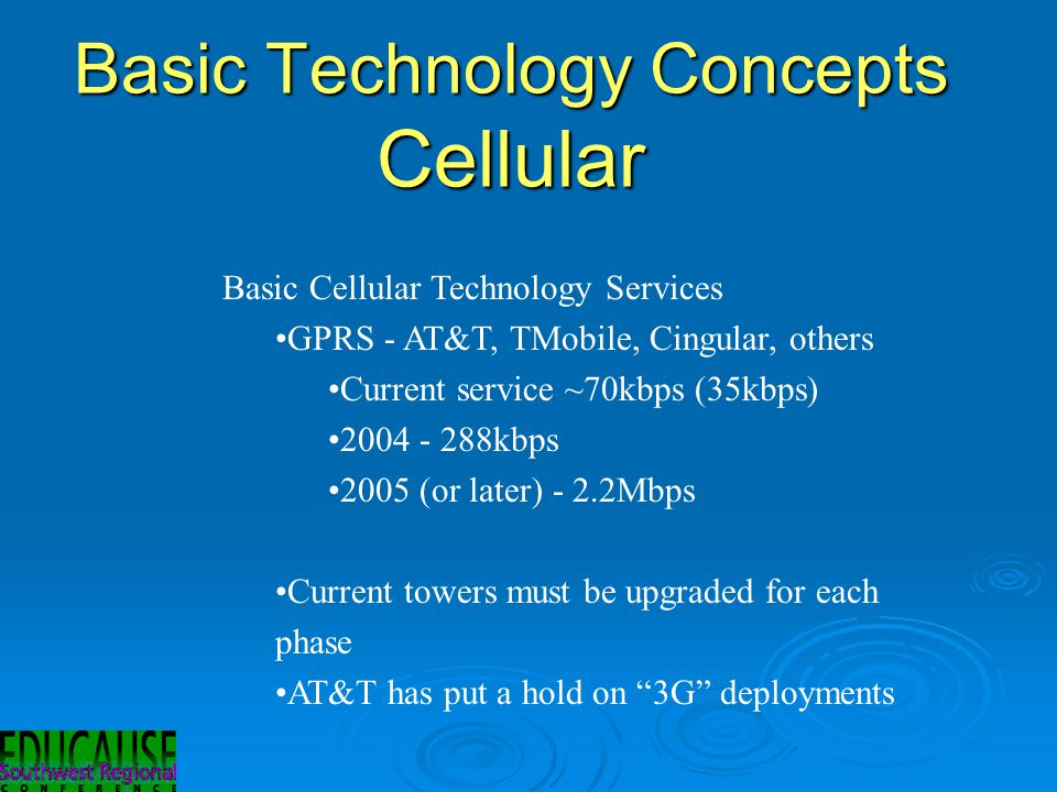 Basic Technology Concepts Cellular Basic Cellular Technology Services GPRS - AT&T, TMobile, Cingular, others Current service ~70kbps (35kbps) 2004 - 288kbps 2005 (or later) - 2.2Mbps Current towers must be upgraded for each phase AT&T has put a hold on 3G deployments