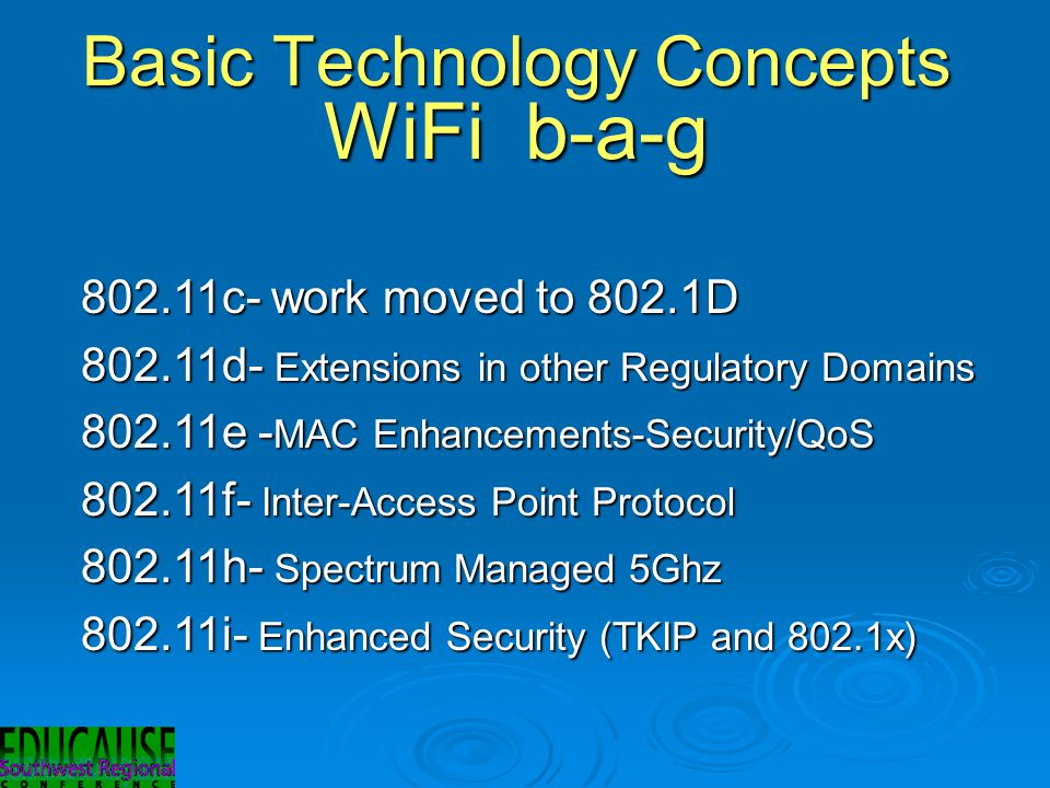 Basic Technology Concepts WiFi b-a-g 802.11c- work moved to 802.1D 802.11d- Extensions in other Regulatory Domains 802.11e - MAC Enhancements-Security/QoS 802.11f- Inter-Access Point Protocol 802.11h- Spectrum Managed 5Ghz 802.11i- Enhanced Security (TKIP and 802.1x)