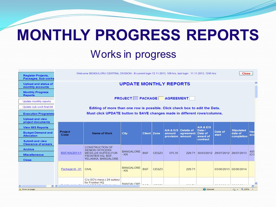 MONTHLY PROGRESS REPORTS Works in progress