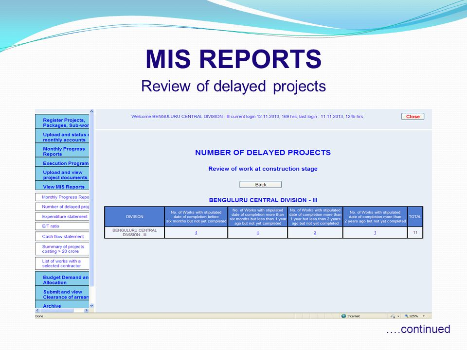 MIS REPORTS Review of delayed projects ….continued