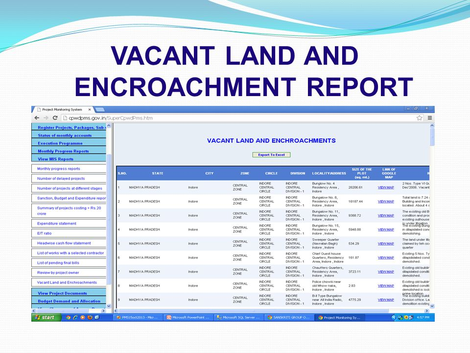 VACANT LAND AND ENCROACHMENT REPORT