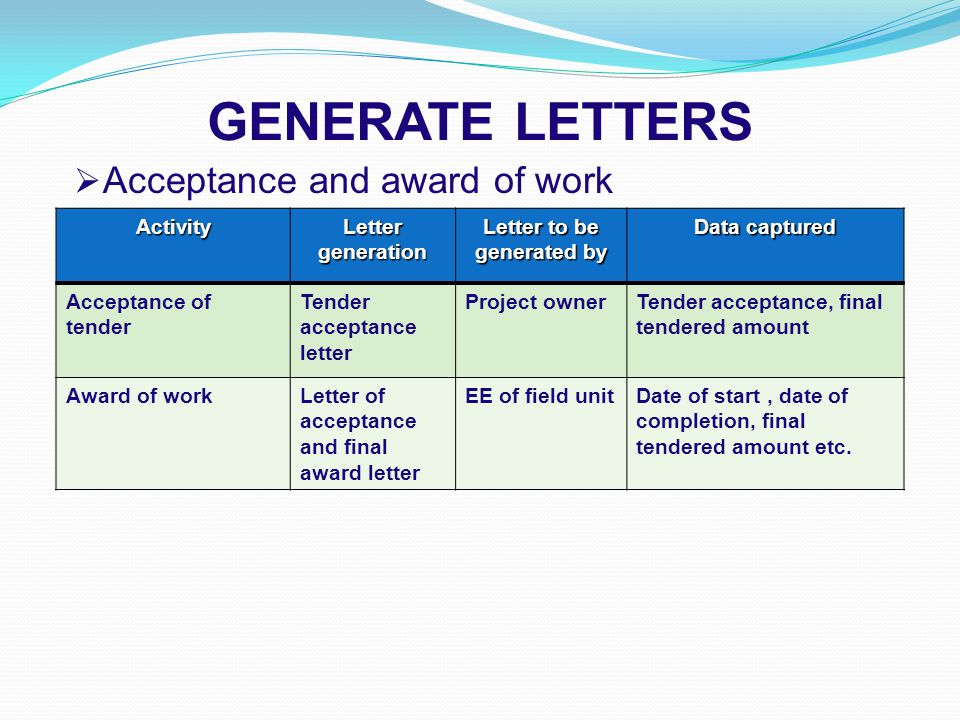 GENERATE LETTERS  Acceptance and award of work Activity Letter generation Letter to be generated by Data captured Acceptance of tender Tender acceptance letter Project ownerTender acceptance, final tendered amount Award of workLetter of acceptance and final award letter EE of field unitDate of start, date of completion, final tendered amount etc.