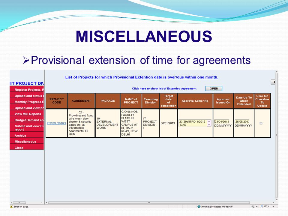 MISCELLANEOUS  Provisional extension of time for agreements