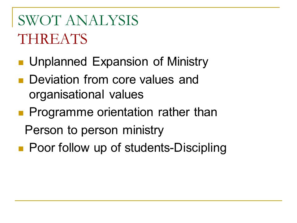 SWOT ANALYSIS THREATS Unplanned Expansion of Ministry Deviation from core values and organisational values Programme orientation rather than Person to person ministry Poor follow up of students-Discipling
