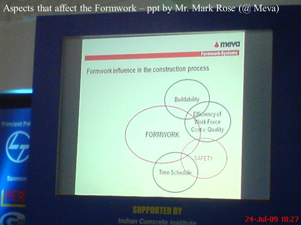 Aspects that affect the Formwork – ppt by Mr. Mark Rose (@ Meva)