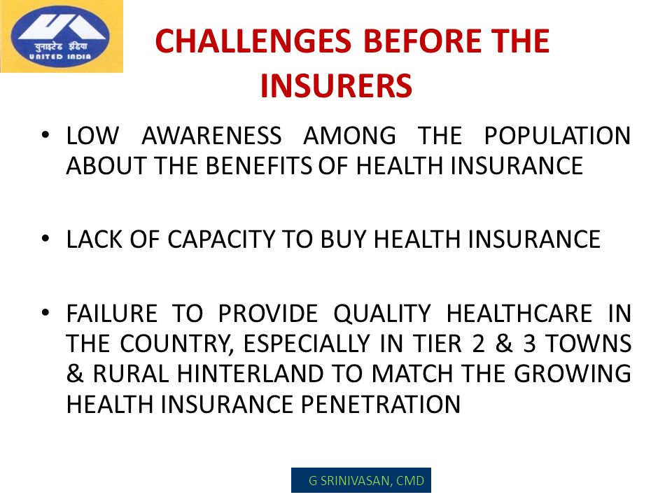 CHALLENGES BEFORE THE INSURERS LOW AWARENESS AMONG THE POPULATION ABOUT THE BENEFITS OF HEALTH INSURANCE LACK OF CAPACITY TO BUY HEALTH INSURANCE FAIL