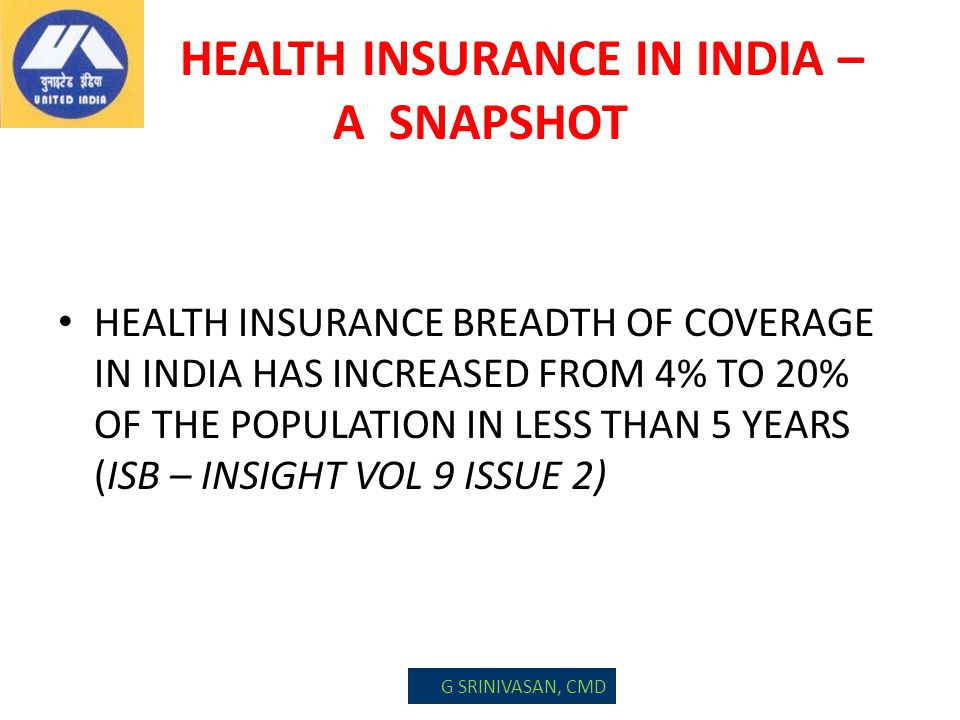 HEALTH INSURANCE IN INDIA – A SNAPSHOT HEALTH INSURANCE BREADTH OF COVERAGE IN INDIA HAS INCREASED FROM 4% TO 20% OF THE POPULATION IN LESS THAN 5 YEA