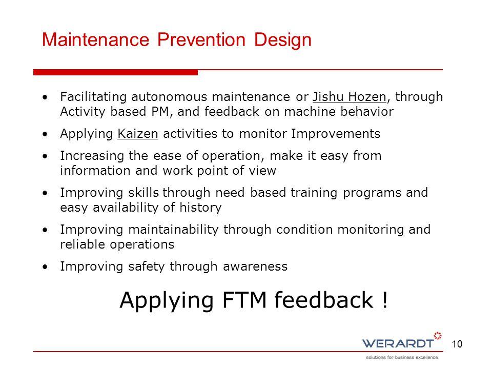 10 Facilitating autonomous maintenance or Jishu Hozen, through Activity based PM, and feedback on machine behavior Applying Kaizen activities to monit