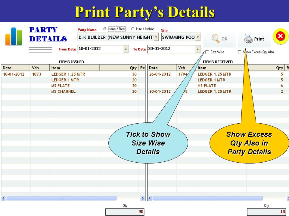 Print Party's Details Tick to Show Size Wise Details Show Excess Qty Also in Party Details