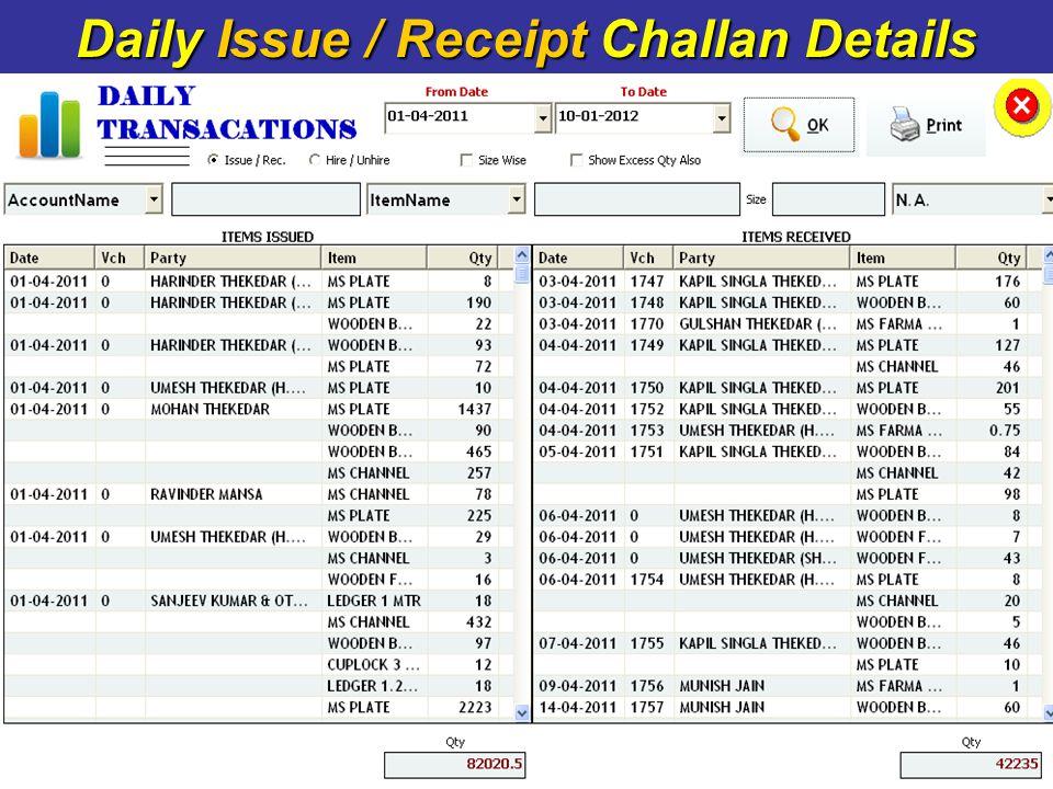 Daily Issue / Receipt Challan Details