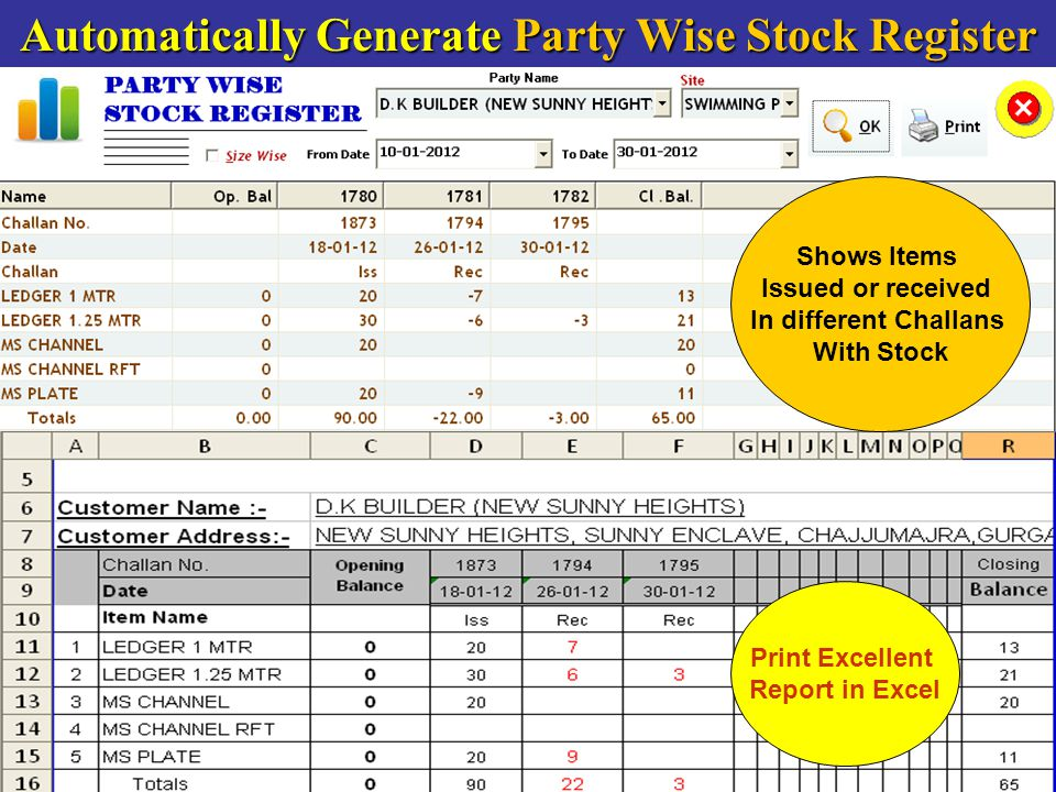 Automatically Generate Party Wise Stock Register Shows Items Issued or received In different Challans With Stock Print Excellent Report in Excel