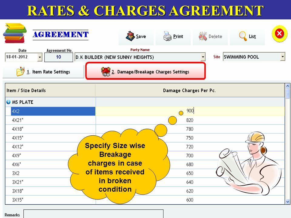 RATES & CHARGES AGREEMENT Specify Size wise Breakage charges in case of items received in broken condition