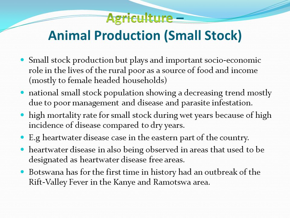 Small stock production but plays and important socio-economic role in the lives of the rural poor as a source of food and income (mostly to female headed households) national small stock population showing a decreasing trend mostly due to poor management and disease and parasite infestation.