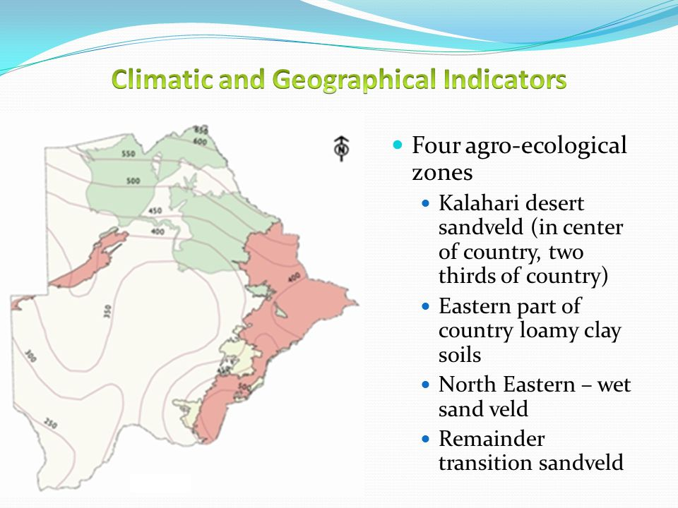 Four agro-ecological zones Kalahari desert sandveld (in center of country, two thirds of country) Eastern part of country loamy clay soils North Eastern – wet sand veld Remainder transition sandveld