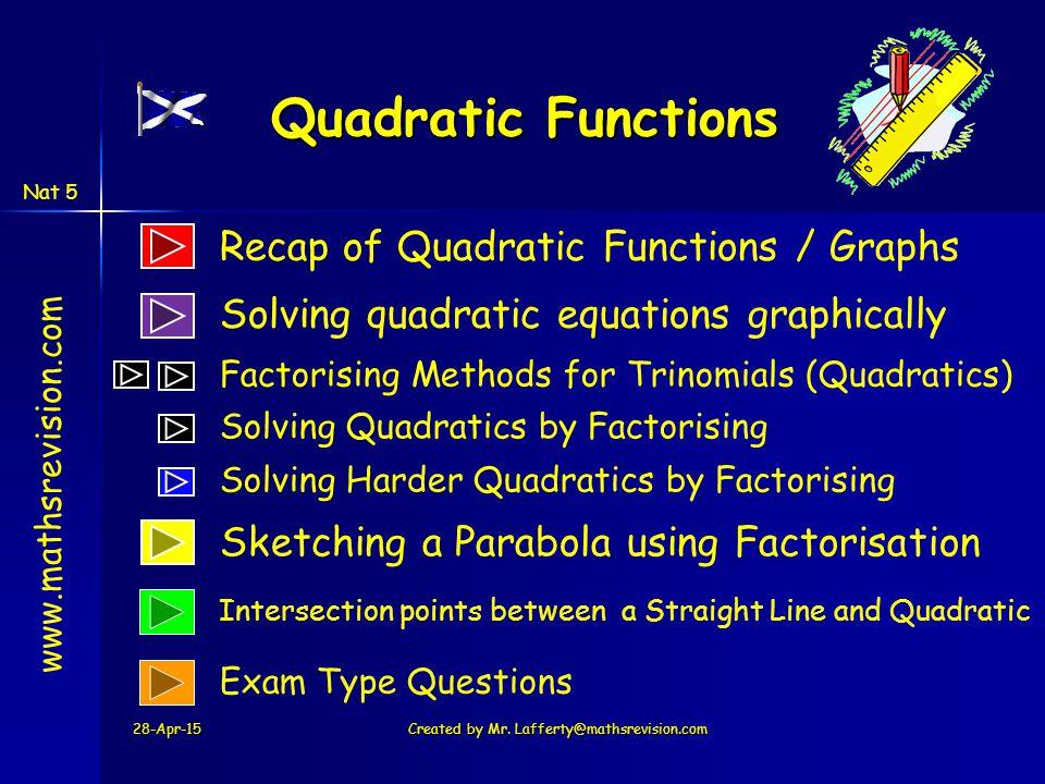 Quadratic Functions y = ax 2 + bx + c SAC e.g.
