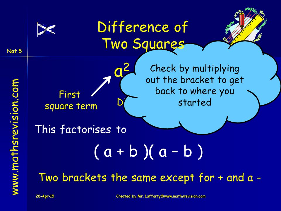 28-Apr-15Created by Mr. Lafferty@www.mathsrevision.com www.mathsrevision.com a 2 – b 2 First square term Second square term Difference This factorises