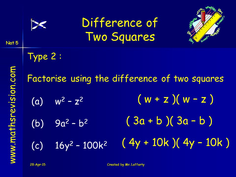 28-Apr-15Created by Mr. Lafferty www.mathsrevision.com Type 2 : Factorise using the difference of two squares (a) w 2 – z 2 (b) 9a 2 – b 2 (c)16y 2 –