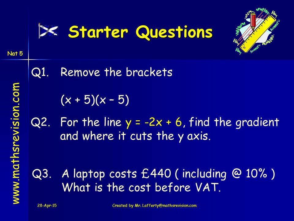 28-Apr-15 Created by Mr.Lafferty@www.mathsrevision.com Now try N5 TJ Ex 14.4 Q11....