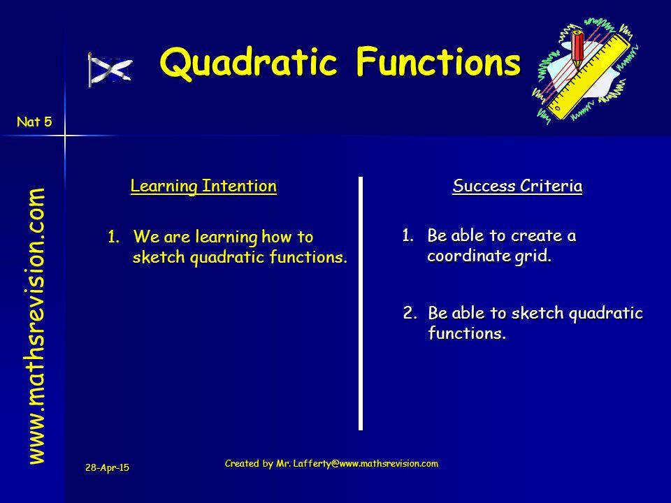www.mathsrevision.com Nat 5 Quadratic Equations A quadratic function has the form f(x) = a x 2 + b x + c The graph of a quadratic function has the basic shape y x a, b and c are constants and a ≠ 0 y x a > 0 a < 0 The graph of a quadratic function is called a PARABOLA