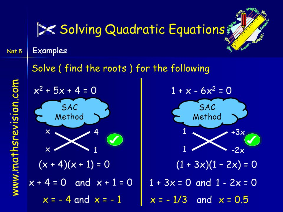www.mathsrevision.com Solving Quadratic Equations Nat 5 Examples Solve ( find the roots ) for the following x 2 + 5x + 4 = 0 (x + 4)(x + 1) = 0 x = -
