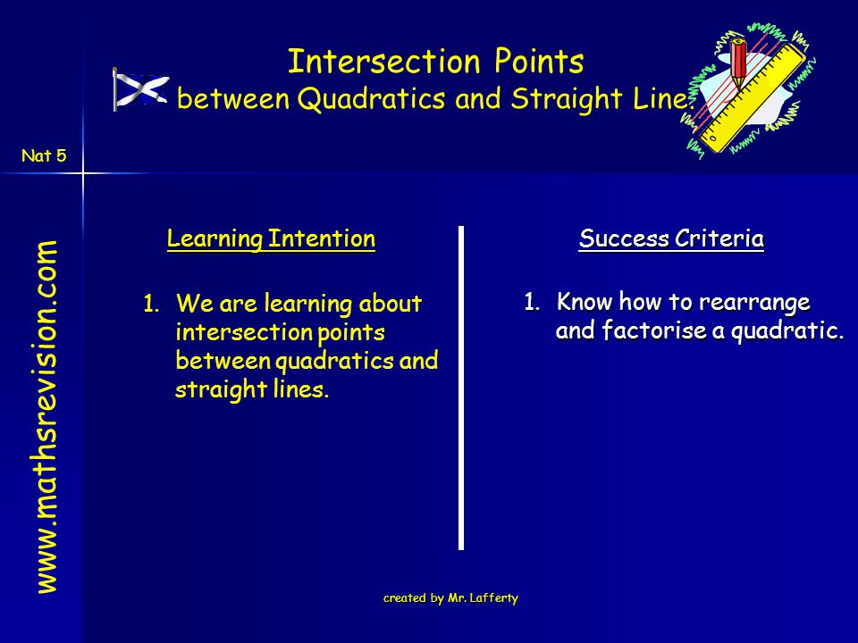 created by Mr. Lafferty Learning Intention Success Criteria 1.Know how to rearrange and factorise a quadratic. 1.We are learning about intersection po