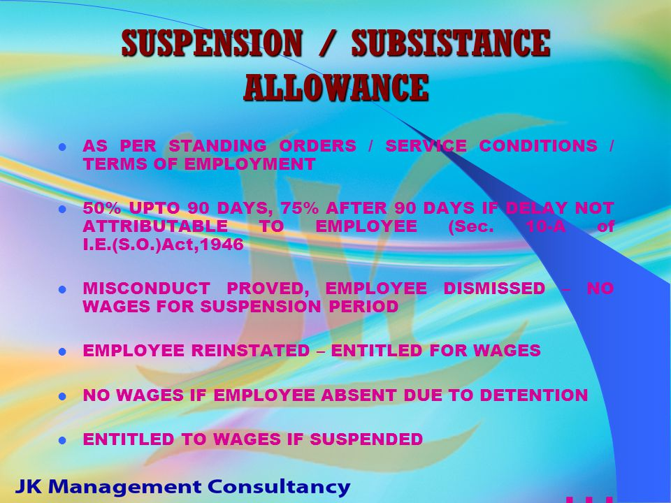 SUSPENSION IT IS A TEMPORARY DEPRIVATION OF ONE'S NORMAL POSITION, PRIVILEGES, FACILITIES, FUNCTIONS ETC.