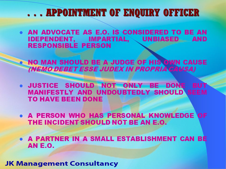 APPOINTMENT OF ENQUIRY OFFICER E.O. IS A DELEGATE OF DISCIPLINARY AUTHORITY E.O.