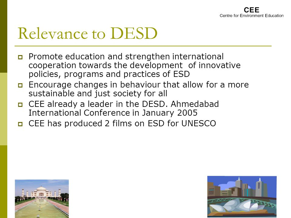 Relevance to DESD  Promote education and strengthen international cooperation towards the development of innovative policies, programs and practices of ESD  Encourage changes in behaviour that allow for a more sustainable and just society for all  CEE already a leader in the DESD.