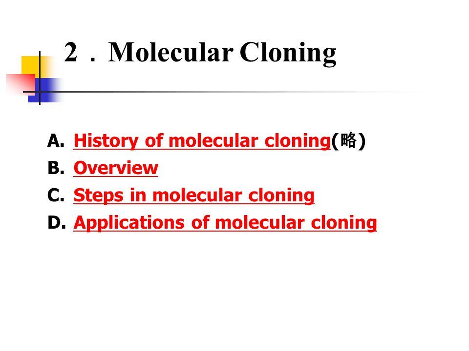 2 . Molecular Cloning A.History of molecular cloning( 略 )History of molecular cloning B.OverviewOverview C.Steps in molecular cloningSteps in molecular cloning D.Applications of molecular cloningApplications of molecular cloning