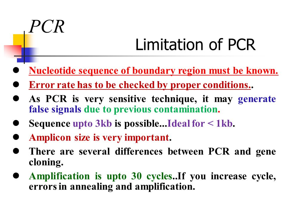 PCR Limitation of PCR Nucleotide sequence of boundary region must be known. Error rate has to be checked by proper conditions.. As PCR is very sensiti