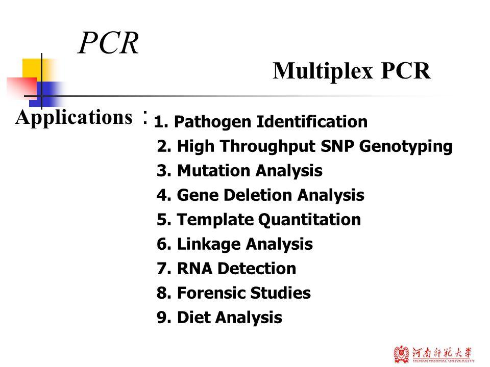 1. Pathogen Identification 2. High Throughput SNP Genotyping 3.